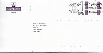 ROYAL MAIL 1 POSTAL SERVICE 1991 COVER FROM LEICESTER   MY REF 35