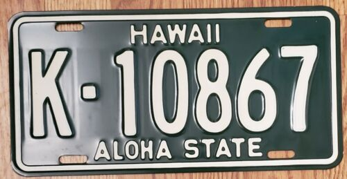 1961-68 HAWAII HI LICENSE PLATE TAG 'K-10867', KAUAI County, NOS, Vintage