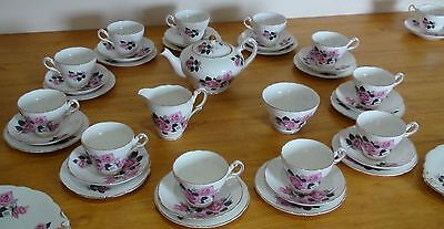 REGENCY -  Pink Roses -  Vintage 40 Piece Bone China Tea Set -