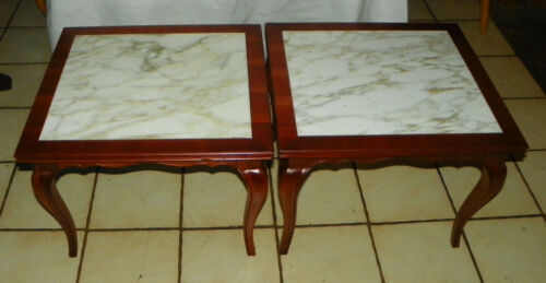 Pair of Cherry Mid Century Marble Top End Tables by Berkey / Widdicomb  (T493)