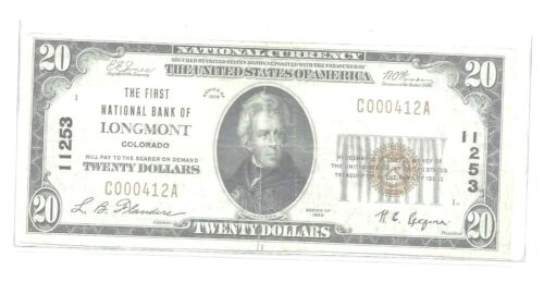 1929 $20 1st NATIONAL BANK OF LONGMONT, COLORADO CH#11253 ser#C000412 A