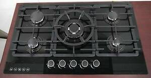 New Black Glass Modern Gas Kitchen ECT Cooktop Italian Burner Melbourne CBD Melbourne City Preview