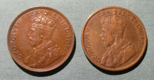 CANADA 1911 and 1912 Large Cent - (2) 1 penny coin George V