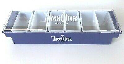 New Three Olives Vodka Bar Condiment Garnish Caddy Fruit Tray 6 Compartment