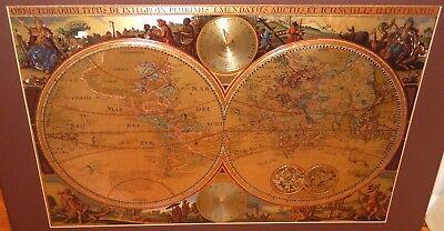 HUGE ORBIS TERRARUM TYPUS DE INTEGROIN PLURIMIS GOLD FOIL MAP OF THE WORLD #2