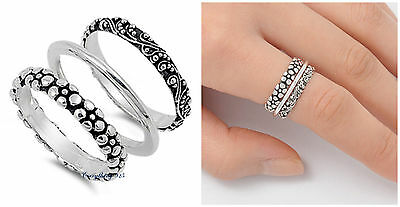 - .925 Sterling Silver 8MM 3SET BALI FLOWER W/ FLORALS DESIGN BAND RING SIZES 3-13
