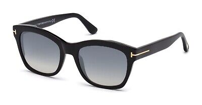 Authentic Tom Ford LAUREN FT0614-F - 01C Sunglasses Blk/Smoke  Silver *NEW* (Tom Ford Sunglass)