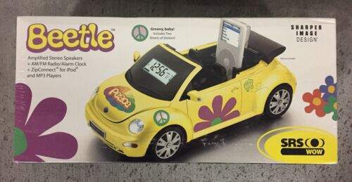 ☀NEW☀Sharper Image ZIP CONNECT Clock Radio VW Beetle Yellow W/ Remote Sealed