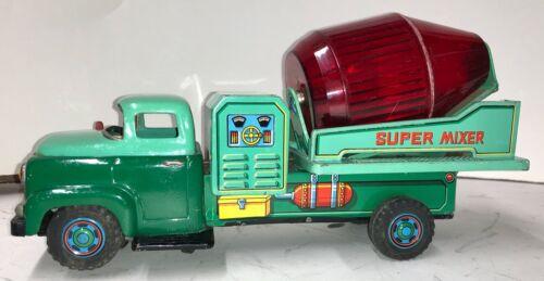 "12"" Tin Battery-op Cement Super Mixer-1950s/1960s-Modern Toy-Japan-EXC"