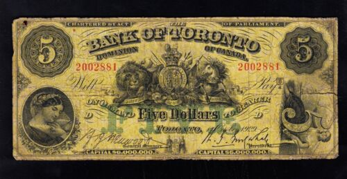 BANK OF TORONTO Large Chartered Banknote ,YEAR 1929 $5 ,RED SERIAL #