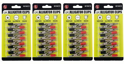 48x 2 Insulated Alligator Clips Color Coded Testing Clamps 4mm Connector