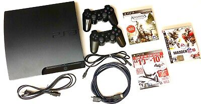 SONY PLAYSTATION 3 PS3 SLIM 160GB Console Bundle : 2 OEM Controllers + 3 Games