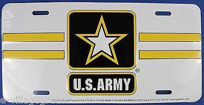 US ARMY STAR LICENSE PLATE Embossed Aluminum NEW Armed Forces USA Tin Car Truck