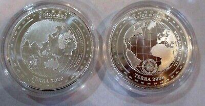 2020 Tokelau 1 oz .999 Fine Silver $5 Terra Coin Planet Earth Globe in Capsule