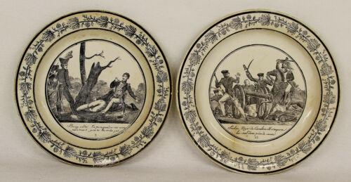 Antique French Ceramic Plate Battle Scene C. 1840 P & H Choisy