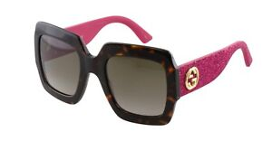 Gucci Womens Sunglasses GG0102S 003 Dark Havana Brown Gradient Lens Pink Temples