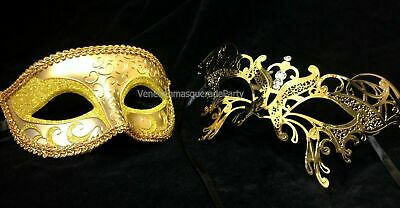 Gold Couple eye mask Masquerade ball Pair Costume Dress up Wedding Theme party
