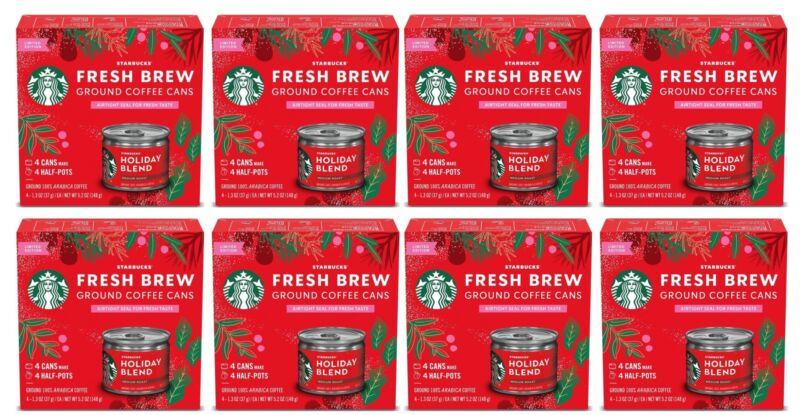 Starbucks Holiday Blend Medium Roast Ground Coffee Cans 8 Boxes 32 Cans BBD 1/21