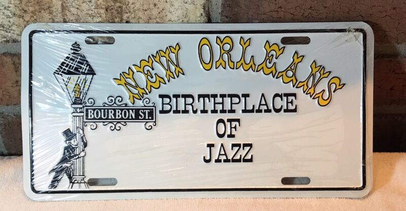 Vintage 1987 New Orleans Birthplace of Jazz Bourbon St License Plate Metal NEW