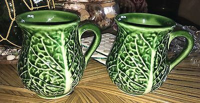 Majolica Portugal Style Cabbage Leaf Pottery Coffee Mugs Set Of 2