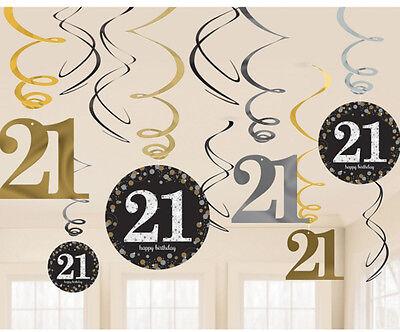 12 X 21st Geburtstag Hängende Wirbel Schwarz Silber Gold Party Dekoration Alter
