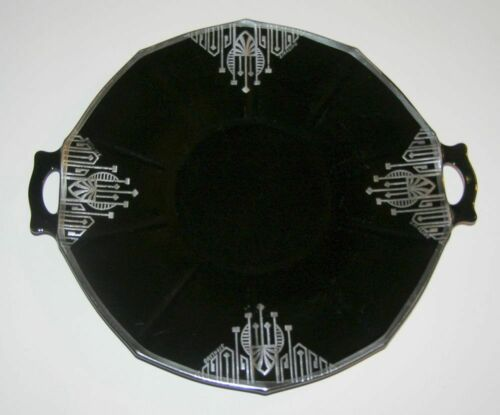 """Secessionist Wiener Werkstätte Jugendstil Sterling Black Amethyst Glass Tray 13"""""""