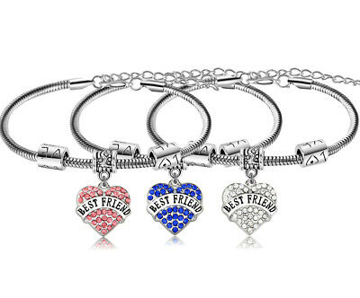 Gift Best Friend Bracelet Friendship Crystal Love Heart Charm Bracelets