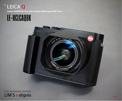 LIM'S Design Genuine Leather Metal Grip Half Case for Leica Q Typ 116Black