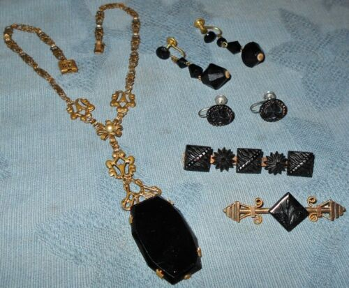 Nice Group  Victorian & Antique  Mourning Jewelry  Necklace Pins...