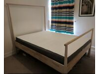 King sized bed frame and mattress for sale. It is a one year old IKea Gjora. £95.00