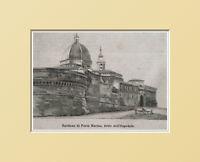 Loreto,bastione Di Porta Marina.o Dell'ospedale Ancona.xilo In Passpartout 1894 - marina - ebay.it