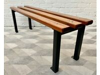 Vintage School Bench Teak and Metal