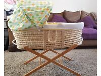 Mothercare moses basket with a rocking stand and a static stand and 4 fitted sheets