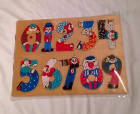 Clowns As Numbers Ten Piece Peg Puzzle Educational Toy. Rare. Good Condition