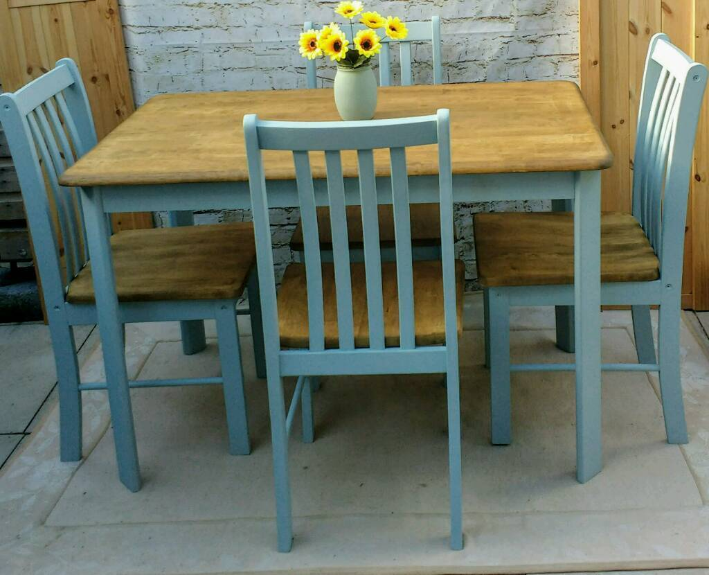 Farmhouse Shabby Chic Kitchen Dining Table And 4 Chairs