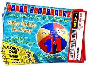 BIRTHDAY PARTY INVITATIONS Swim/Pool Beach Ball Personalised Ticket Style