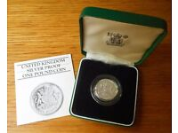 1983 £1 proof Piedfort £1 silver coin