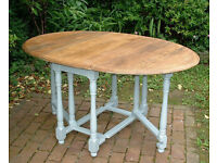 Solid Oak Vintage Drop Leaf Dining Table - Shabby Chic