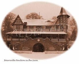 Cadbury / Bournville Pavilion in the Snow: Sepia A4 photo print (vintage style)