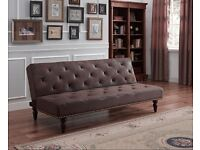 Antique Style Brown Faux Suede Leather Sofa Bed