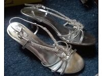 Silver, Ladies sparkly heels, size 9