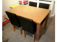 Dining Table and 4 Chairs in Oak