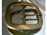 large antique brass belt buckle