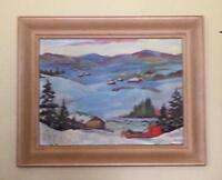 Vintage Winter Painting Signed.