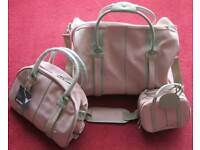 'ANTLER' 3 PIECE LUGGAGE SET, HOLDHALL, (used) HANDBAG & COSMETIC BAG NEW WITH TAGS, PINK,