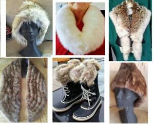 REAL FUR ITEMS & TRIM ADDED TO YOUR GARMENTS Upcycled Vintage to NEW Custom-made Hats Collars Cuffs Boots Stoles