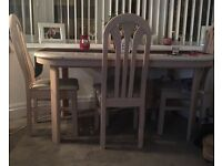 Oval beech dining table with 4 chairs