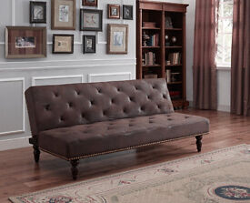 Sofa Bed Click Clack Chesterfield Antique Faux Suede Leather Cost New £299