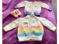 2 new, hand knitted baby cardigans and bootees, gorgeous!