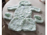 hand crocheted baby boy set 0-3 months new white with coloured specks